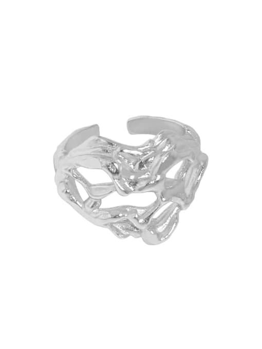 Platinum [14 adjustable] 925 Sterling Silver Heart Vintage Band Ring